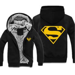 Gros-Superman Sweatshirt Winter Flece Mens Hoodies fourrure à capuchon de Hip Hop Casual Sweatshirts Casual Sport Jacket Pour Hommes Femmes supplier hoodie fur for women à partir de hoodie de la fourrure pour les femmes fournisseurs