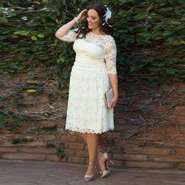 Hot Sale Tea Length Plus Size Wedding Dresses Half Sleeve Jewel Neck Full Lace Short Empire Bridal Gowns Custom Made