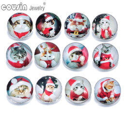 Wholesale 12pcs Mixed Colors Christmas Cat mm snap button Jewelry Faceted glass Snap Fit snap Bracelet Jewelry KZ0142