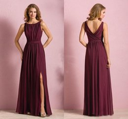 Wholesale Elegant Cheap Wine Red Chiffon Long Beach Bridesmaid Dresses Wedding Party Dress For Women Maid of Honor Dresses With Split Jewel Neck