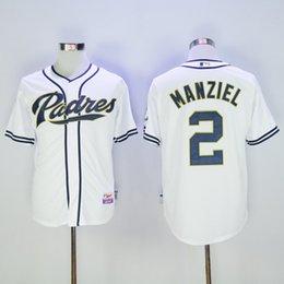 Promotion johnny maillots manziel San Diego Padres # 2 Johnny Manziel Maillots, maillots de baseball, blanc en coton Logo Cool Base Jersey
