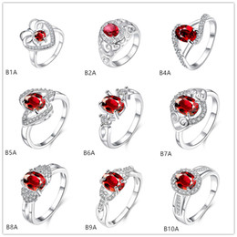Mixed style burst models fashion red gemstone 925 silver plate ring EMGR1,Carved designs letter plated sterling silver ring 10 pieces a lot