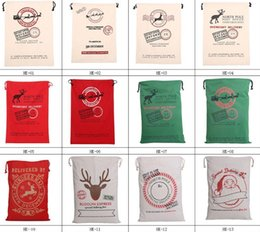 Christmas Large Canvas Bags 12styles for choose Santa Claus Drawstring Bags With Reindeers cotton Christmas Gift Sack Bags