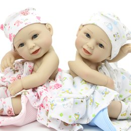 Wholesale So Truly Real Smiling Reborn Baby Dolls Boy And Girl Mini Inch Full Silicone Vinyl Newborn Babies Twins Kids Birthday Gift