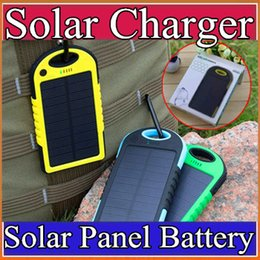 Wholesale 5000mAh Solar power Charger and Battery Solar Panel waterproof shockproof Dustproof portable power bank for Mobile Cellphone ipone B YD