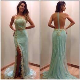 2016 Sexy Side Slit Mint Green Evening Dress Crew Neck Sleeveless Gold Beading Appliques Prom Dress vestido de festa Party Dress