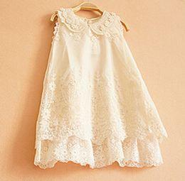 Children Clothing Baby Girls Elegant Lace embroidered Sleeveless Princess dress Handmade Pearl Collar Summer Dress Free shipping