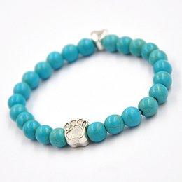 Wholesale Handmade New Design Dog Paw Charm blue turquoise Bracelets Men Bracelets Women Wrap Bronze Color Dog Charms Bracelets