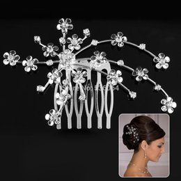 1 pcs 9 x 6 cm Little Flower Wedding Party Prom Crystal Hair comb Clip Pin Rhinestone hair clip styling tools shipping