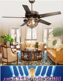 Wholesale European antique ceiling fan lights simple fashion inch ceiling fans living room restaurant iron leaves fans ceiling lamp MYY