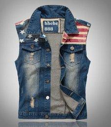 Wholesale HOT Fashion Men S Denim Vest new Cultivate one s morality cowboy Vests Tank top Sleeveless national flag hole leisure Plus Size Jeans