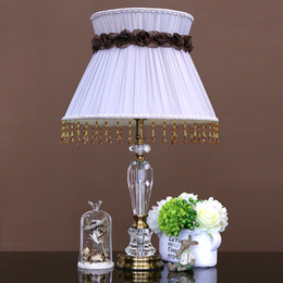 New Arrival Luxury Fashion Crystal Table Lamps K9 Crystal Lights Fabric Lampshade Desk Lamp for Bedroom Art Deco