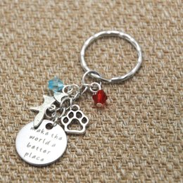 Wholesale 12pcs keyring Make the world a better place Inspirational keyring Animal paw print fox crystals keychain