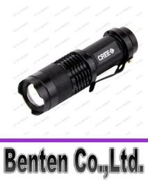 Promotion point de navire Livraison gratuite Mini torche LED 7W 300LM CREE Q5 LED Flashlight Mise au point réglable Zoom 3-Mode min conduit torche LLFA