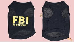 Wholesale Cotton Dresses For Dogs - Wholesale-Free shipping Stylish FBI The Detective Puppy Cotton Vest for Pets Dogs (Assorted Sizes) ,Dog Clothes,Dog Shirt,Dog dress, pet