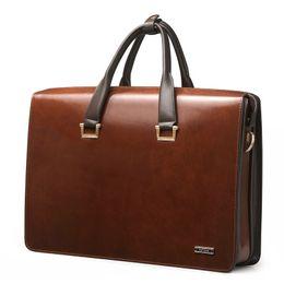 Wholesale Upgrade quot Laptop Bag Mens Genuine Leather Vintage Formal Business Lawyer Briefcase Messenger Shoulder Attache Portfolio