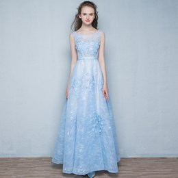 Evening Dress New Fashion Sweet Light Blue Lace Flower Sleeveless Long Prom Dresses The Bride Banquet Party Formal Dresses Vestidos