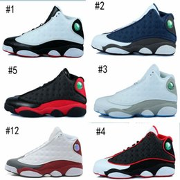 Wholesale high quality air retro XIII MENS Basketball Shoes Bred Navy Game hologram grey toe Flint Grey Athletics Sport Sneaker Boots