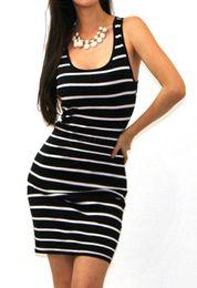 Promotion bleu peplum robe noire 2016 robe d'été O-cou des femmes vêtements décontractés rayé rouge Femininos mini-plage robe sans manches vestidos, bleu, noir