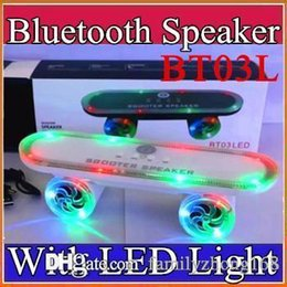 Wholesale Scooter BT03L Skateboard Mini Bluetooth Speaker with LED Light Wireless Stereo Audio Player Protable Handsfree FM Super Bass Xmas Gift F YX