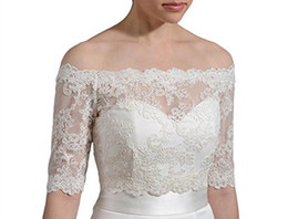 Wholesale Sensual Looking Fancy Clingy Womens Accessories Off Shoulder Custom Made Lace Appliques Jacket Wedding Bolero