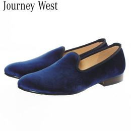Handmade Mens Blue Plain Velvet Loafers Slippers Slip-On Men's Flats Designer Shoes Fashion Party and Wedding Dress Formal Shoes Size 7-13