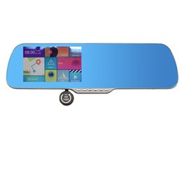 Wholesale inch rearview mirror GPS android dual core P Dashcam backup Camera load map Navitel or full Europe map