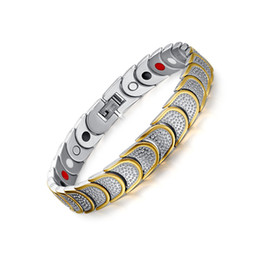 New Fashion Jewelry Magnetic 3 Health Care Elements(Magnetic,FIR,Germanium) 316L Stainless Steel Bracelet For Men JEW01313