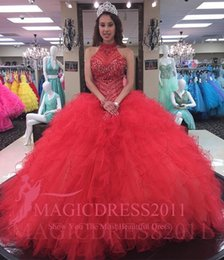 Princess Red Ball Gown Sweet 16 Party Quinceanera Dresses 2016 Halter Beaded Corset Ruffles Train Custom Made Girls Debutantes Gowns