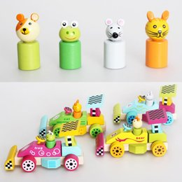 Wholesale Baby Toys Wooden Block Car Baby Vehicle Wooden Toys Child Educational Toy Animals Motorcycle Race Blocks Child Gift