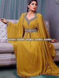 Wholesale Elegant Long Sleeves Chiffon A Line Ruffles Evening Dresses Beading Crystals Western Turkey Kaftans Saudi Arabic Style Prom Gowns