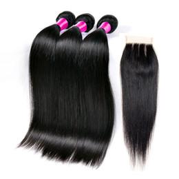 Brazilian Human Hair With Closure 7A 4 Pcs Brazilian Straight Lace Closure With Bundles Peruvian Straight Hair With Closure