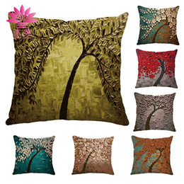 muchun Brand Christmas Pillow Case Oil Painting Tree New Year Product 45*45cm Christmas Linen Home Textiles Sofa Throw Pillow Cover