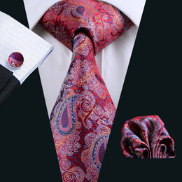 Top Fashion Hombre New Fashion ties Casual Red Bright Paisley Men's Solid Neck Party Wedding Tie Neckties Accessories N-0552
