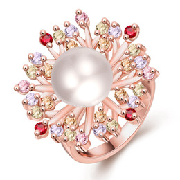 Wholesale Stylish Pearl Rings - Special Europe and American Elegant and Hot selling stylish women's snowflake ring Peacock Pearl rings Christmas on wholesale