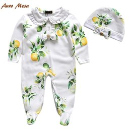 Wholesale 2016 Pure Cotton Hot Sell Green Rompers Baby Fruit Fresh Romper Long Sleeve Rompers Suit Cap White Bowknot Girl Clothes One Piece N1546