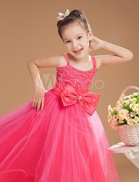 2016 New Spring Ball Gown Rose Red Spaghetti Straps Beading Bow Fashion Little Girl's Pageant Dresses Custom Made Kids Dresses