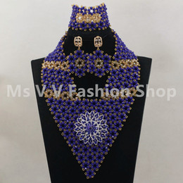 2019 New Royal Blue Gold african beads Wedding Statement Jewelry Set for Nigerian Brides Women Costume Crystal Necklace Set Free Shipping