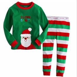 Wholesale I Love Santa Christmas Sleepwear Set Cotton Soft Baby Boys Girls Stripe Pajamas Kids Full Sleeve Long Pants Toddler Pajamas Pajama Sets