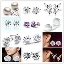 Wholesale 925 sterling silver Luxury Natural Crystal Purple Zircon Stud Earrings women Heart Crown Pearl Ball Elegant noble earrings jewelry