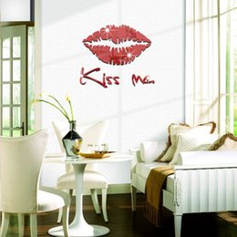 Wholesale Stereoscopic lips mirror against the wall stickers living room bedroom decoration ideas new European and American fashion
