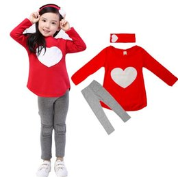 Wholesale 3PCS LOVE SET pc hair band pc shirts pc pants Children s Clothing set Girls Clothes suits Pink Red Heart Design