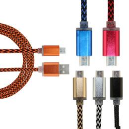 Descuento cargos cables iphone Metal de aluminio durable trenzado teléfono móvil Micro USB Data Sync Cable de carga para S3 S4 S6 Para iphone 5 6 Plus