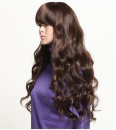 100% Brand New High Quality Fashion Picture full lace wigs>> long vogue Dark Brown fashion curly Wig wigs for women