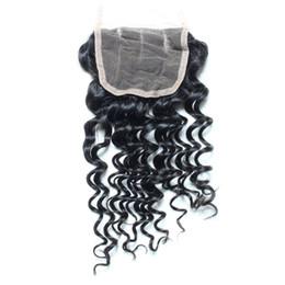 Descuento 7a encierro del pelo de la onda profunda Virgen Peruvian Deep Wave Hair Closures Cierre De Pelo De Encaje 4x4 Natural Color Dyeable Sin Procesar Grado 7a Pelo No Shed No Tangle