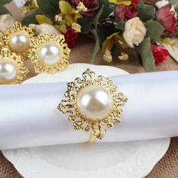 Wholesale 100pcs Faux Pearl Napkin Ring Nice Looking Weeding Party Banquet Table Decoration CJH ZZ