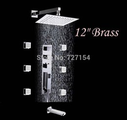 Wholesale Modern quot Brass Shower Faucet Thermostatic Bathtub Mixer Tap With Massage Jets
