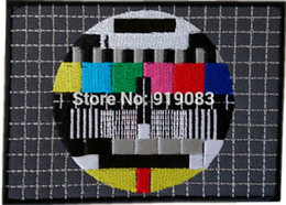 """4.4"""" Big TV Test Card Iron On Patch Badge TV Movie Characters Series Rock Punk Embroideried Logo Badge"""