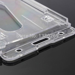 Good Quality Clear 10x6cm Transparent Vertical Hard Double Business Card ID Plastic Badge Holder
