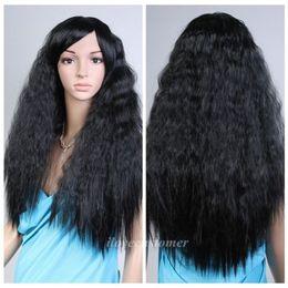 2017 resistente para el cabello de calor Peluca sintética resistente libre del partido de Cosplay del pelo de las mujeres de la manera de wigsBlack del cordón lleno libre del envío resistente para el cabello de calor oferta